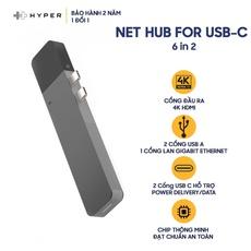 Cổng chuyển HYPERDRIVE NET 6 in 2 USB-C - Hàng Chính Hãng Nguyên Hộp