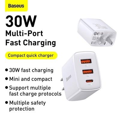 Củ Sạc Baseus Compact Quick Charger 2U+C 30W CN
