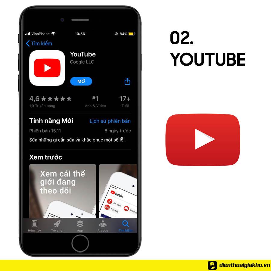 Ứng dụng youtube với hàng triệu nội dung được làm mới mỗi ngày cho bạn nhiều sự lựa chọn giải trí