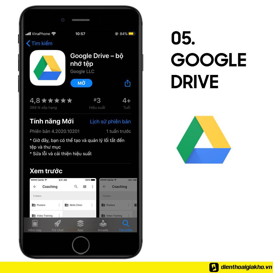 Lưu trữ tài liệu thông qua dịch vụ cloud của Google. Drive còn giúp bạn truy cập các file trong trường hợp offline