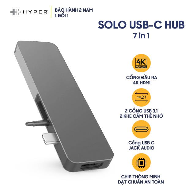 Cổng Chuyển HYPERDRIVE SOLO 7 in 1 USB-C - Hàng Chính Hãng Nguyên Hộp