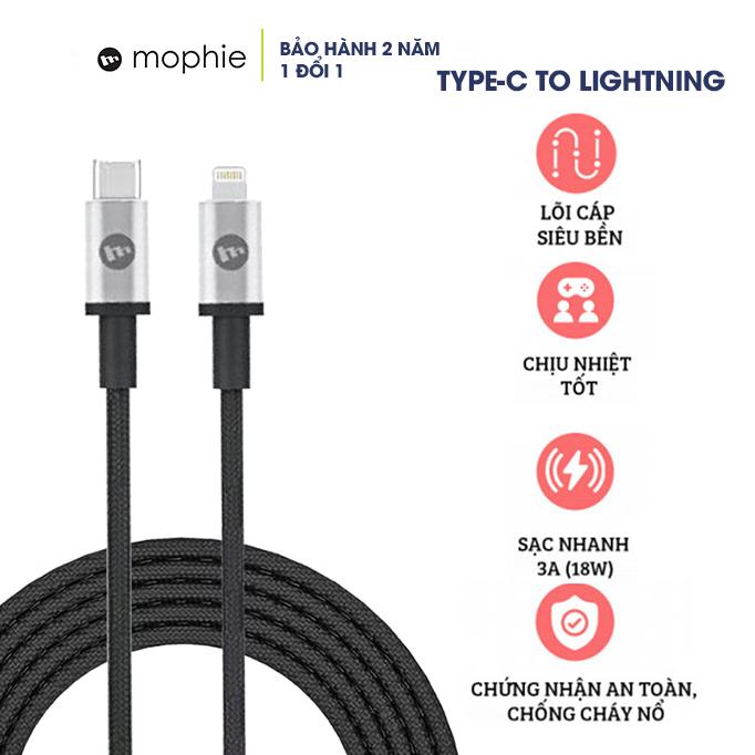 Cáp sạc Mophie USB-C to Lightning 1M