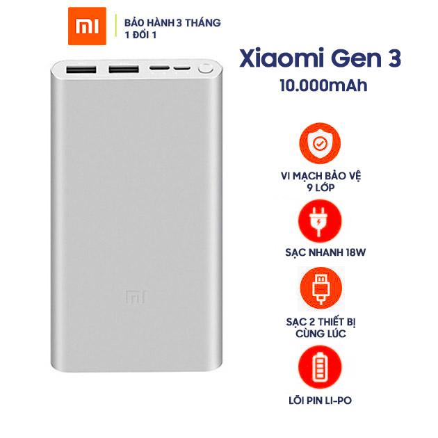 Pin Sạc Dự Phòng Xiaomi 10000 mAh Gen 3 18W Fast Charge - Hàng Chính Hãng Nguyên Hộp