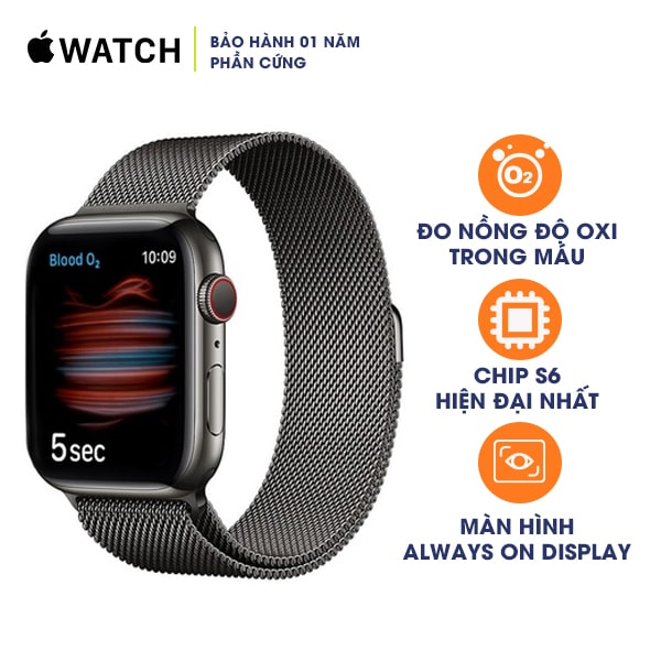 Apple Watch Series 6 40mm LTE Stainless Steel Case with Milanese Loop
