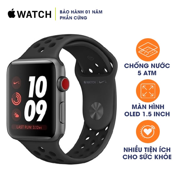 Apple Watch Nike+ Series 3 42mm GPS+CELLULAR Space Gray Aluminum - Anthracite/Black Nike Sport Band Mới